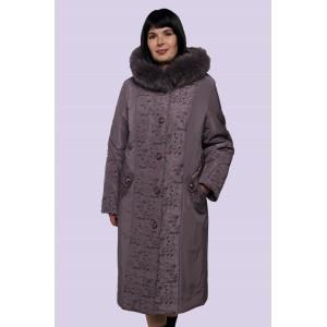Зимнее женское пальто-пуховик с вышивкой. Модель 009
