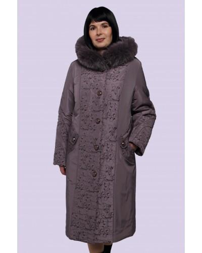 Зимове жіноче пальто-пуховик з вишивкою. Модель 009