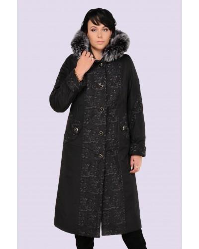 Зимнее женское пальто-пуховик с вышивкой. Модель 009. опт