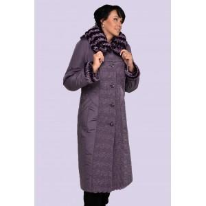 Зимнее женское длинное пальто-пуховик. Модель 010