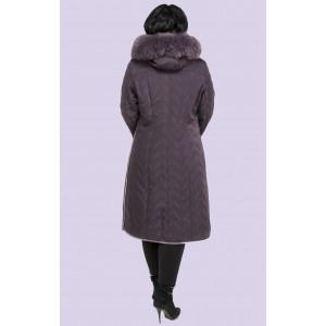 Зимнее женское пальто-пуховик с песцовым воротником. Модель 019