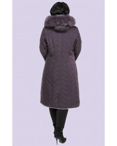 Зимове жіноче пальто пуховик з песцововим коміром. Модель 019