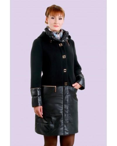 Пальто жіноче демісезонне комбіноване. Модель 023