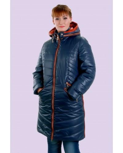 Пуховик женский зимний с контрастной отделкой. Модель 026
