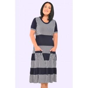 Жіноче трикотажне плаття в смужку. Модель 062