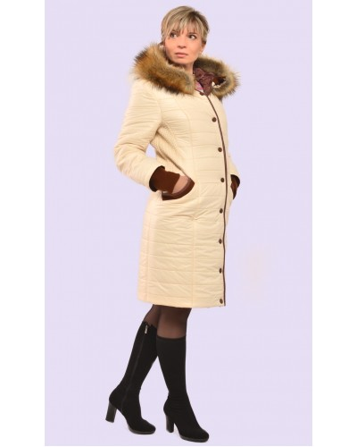 Пуховик женский зимний с мехом. Модель 066
