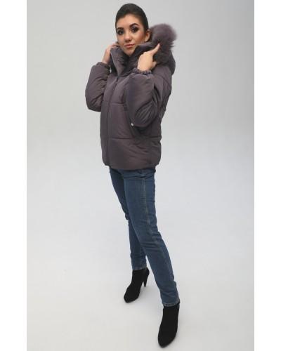 Женская куртка с натуральной песцовой опушкой. Модель 067. Опт.