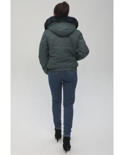 Женская куртка с опушкой кролик. Модель 091