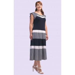 Женское трикотажное платье в полоску. Модель 107