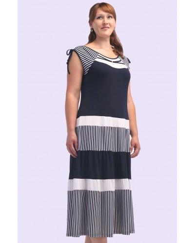 Женское трикотажное платье в полоску. Модель 107. опт