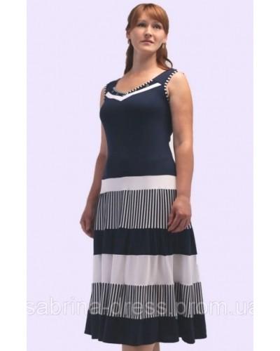 Женское трикотажное платье в полоску. Модель 108. опт