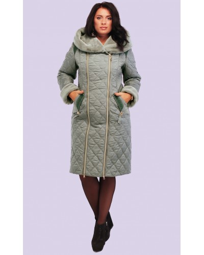 Пальто пуховик женский зимний с мехом. Модель 115. опт