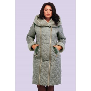 Пальто пуховик зимовий жіночий з хутром. Модель 115