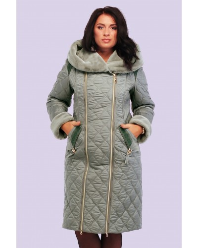 Пальто пуховик женский зимний с мехом. Модель 115