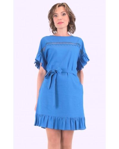 Женское летнее льняное платье с прошвой. Модель 137