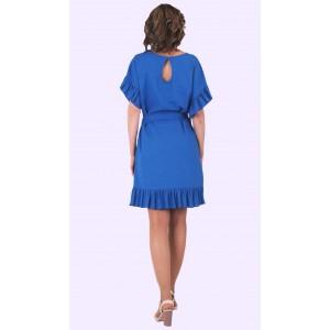 Женское летнее льняное платье с прошвой. Модель 136