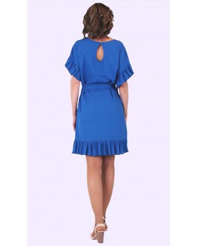 Женское летнее льняное платье с прошвой. Модель 136. опт