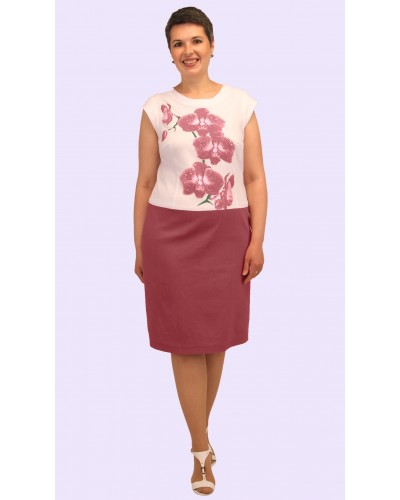Женское платье из двухцветного льна. Модель 171. опт