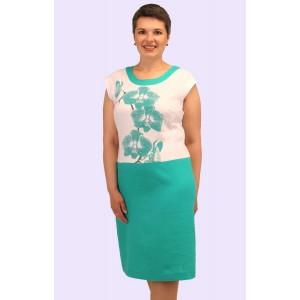 Жіноче плаття з двокольорового льону. Модель 171