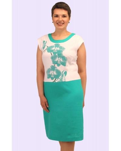 Женское платье из двухцветного льна. Модель 171