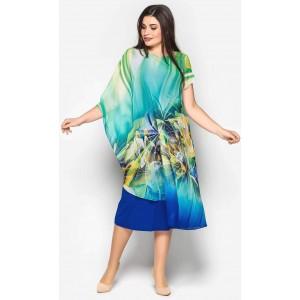 Жіноче віскозне плаття, декороване шифоном. Модель 191. опт