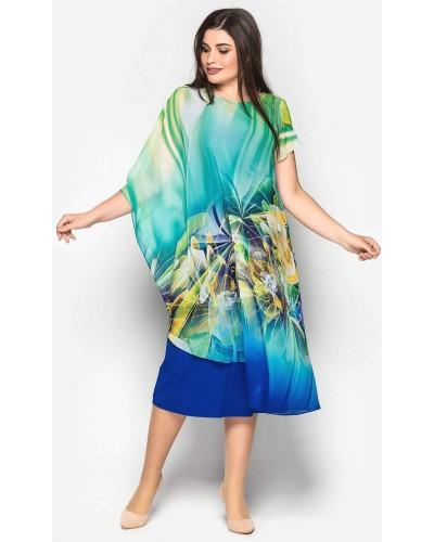 Женское вискозное платье, декорированное шифоном. Модель 191