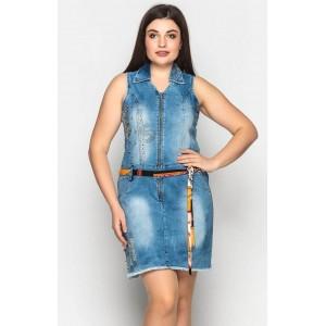 Женский джинсовый сарафан. Модель 208