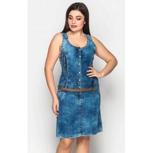 Женский джинсовый сарафан с поясом. Модель 209
