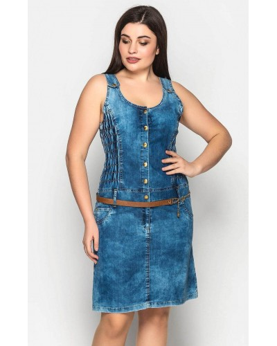 Жіночий джинсовий сарафан з поясом. Модель 209