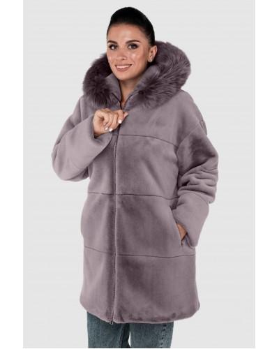 Шуба жіноча зимова на блискавці, утеплена, середньої довжини з опущкой песець. Модель 248. опт