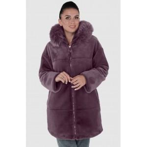 Шуба жіноча зимова на блискавці, середньої довжини з опущкой песець. Модель 245