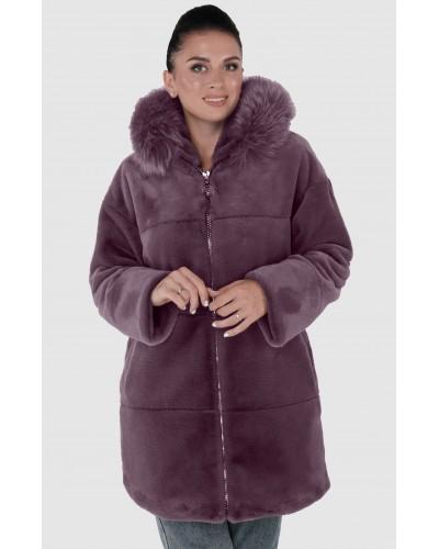 Шуба женская зимняя на молнии, утепленная, средней длинны с опущкой песец. Модель 248