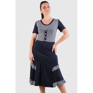 Женское трикотажное платье в полоску. Модель 263