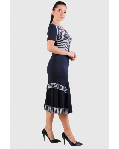 Жіноче трикотажне плаття в смужку. Модель 263