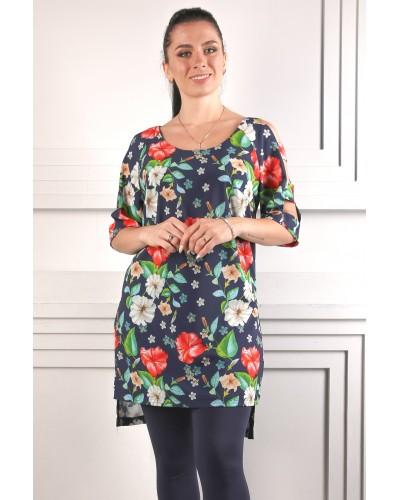 Женская туника+лосины с принтом цветы. Комплект. Модель 269
