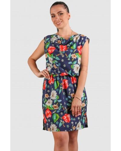 Женское летнее короткое платье с цветочным принтом. Модель 271