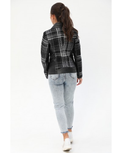 Комбинированная женская короткая куртка. Модель 275.