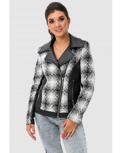 Комбінована жіноча коротка куртка. Модель 276.