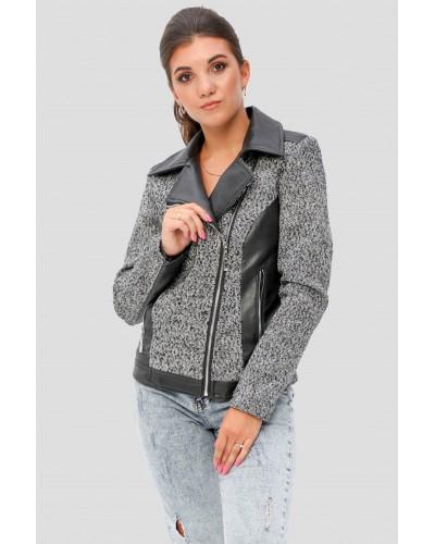 Комбінована жіноча коротка куртка. Модель 277.