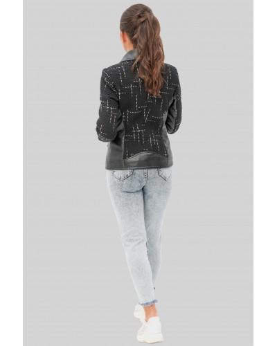 Комбинированная женская короткая куртка. Модель 278.