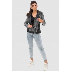Комбінована жіноча коротка куртка. Модель 279.